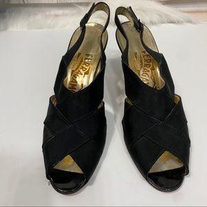 Vintage Ferragamo Satin Slingback Heel sz 6